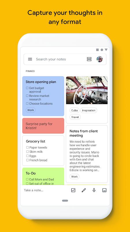 Screenshot Google Keep - notes and lists APK