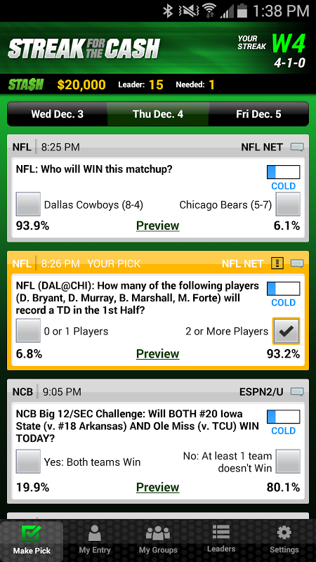 ESPN Streak For The Cash The App Store android Code Lads