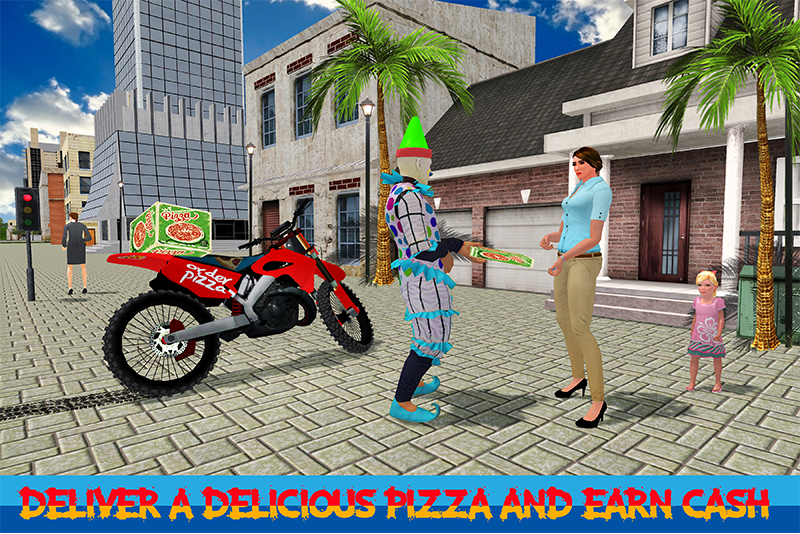 Scary Clown Boy Pizza Bike Delivery