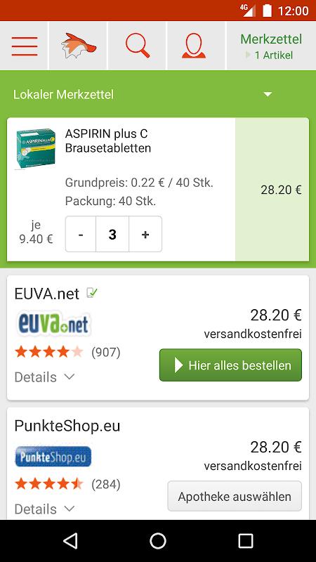 Screenshot medizinfuchs App - Preisvergleich und Angebote APK