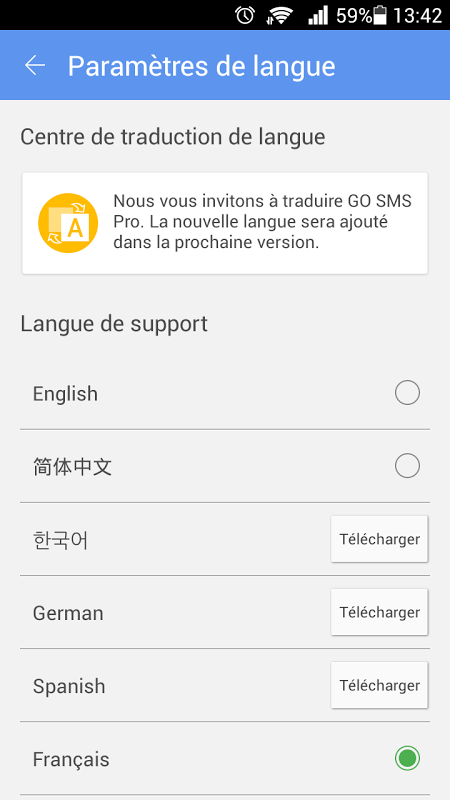 GO SMS Pro French language pac The App Store android Code Lads