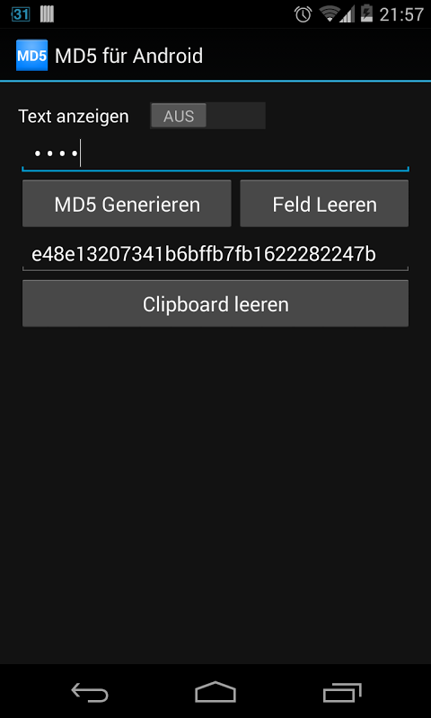 Screenshot MD5 for Android APK