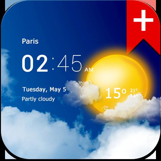 Transparent clock weather Premium
