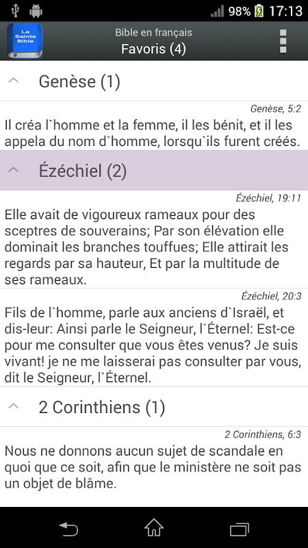 Bible en français Louis Segond The App Store android Code Lads
