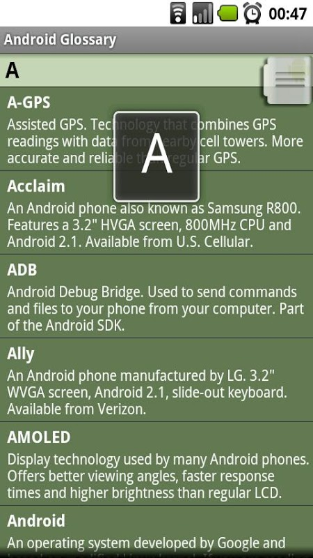 Screenshot Android Glossary APK
