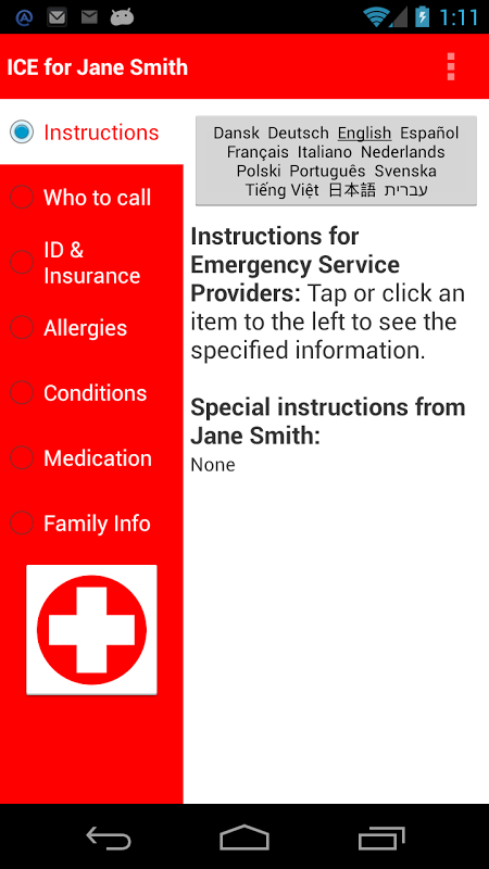 Screenshot ICE: In Case of Emergency APK