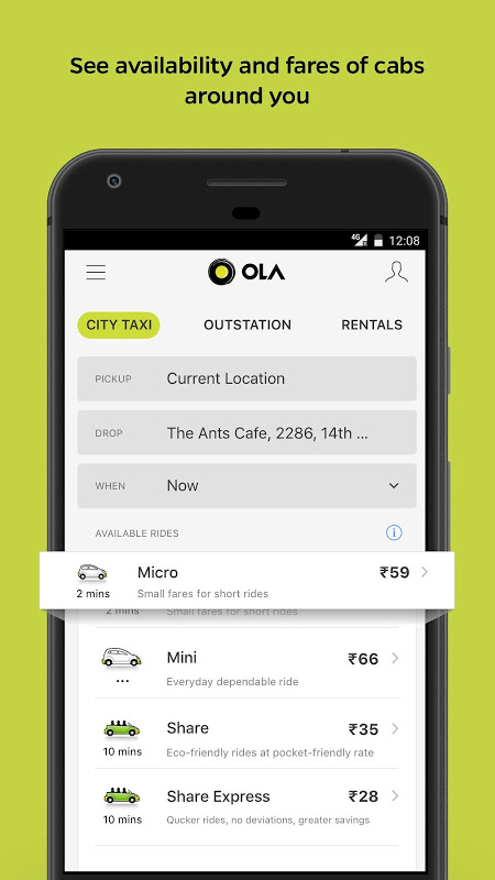 Ola Lite: Lighter Faster Ola App. Book Taxi & Cabs The App Store