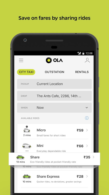 Ola Lite: Lighter Faster Ola App. Book Taxi & Cabs The App Store android Code Lads