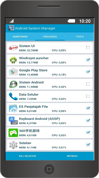 Screenshot Android system manager APK