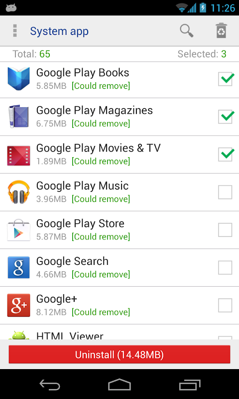System app remover (root needed) The App Store