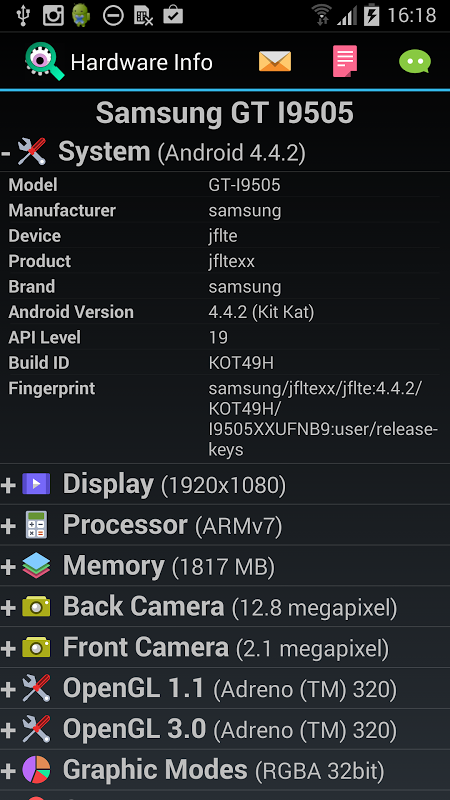 Screenshot Android Hardware Info APK