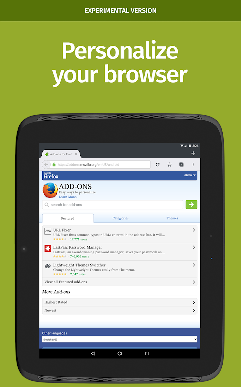 Screenshot Firefox Nightly for Developers APK