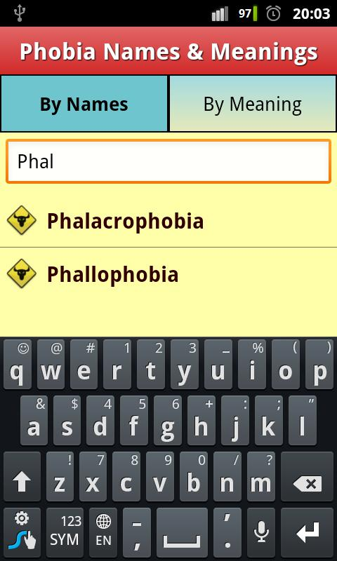 Screenshot Phobias List & Meanings FREE!! APK