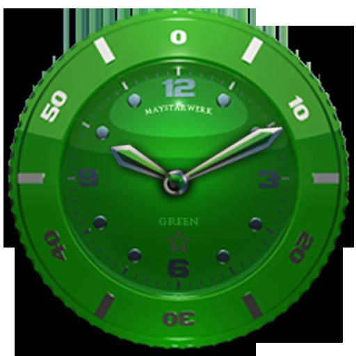 Clock Widget Green Star