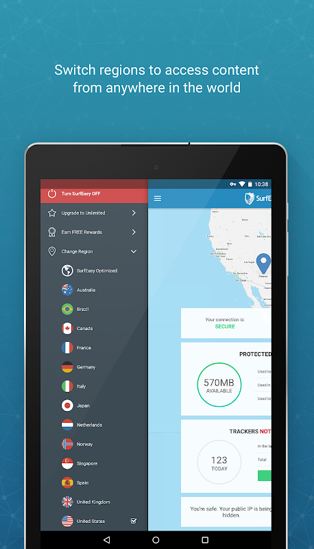 Screenshot SurfEasy Secure Android VPN APK