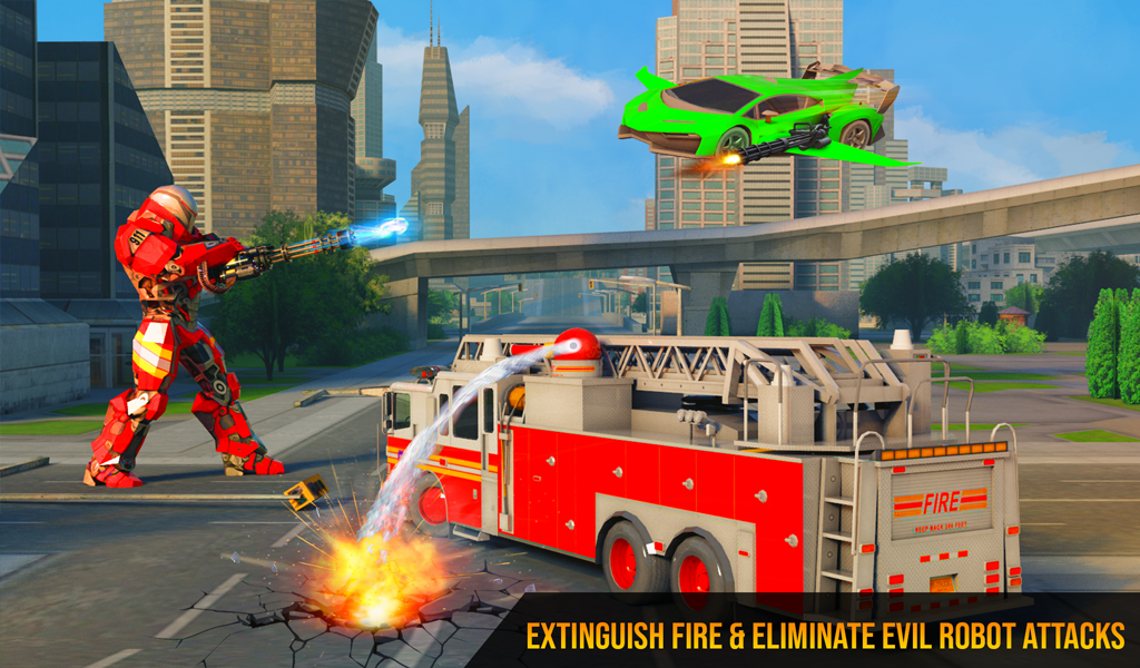Flying Firefighter Truck Transform Robot Games The App Store android Code Lads