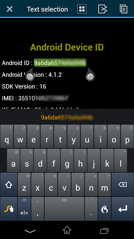 Screenshot Device ID for Android APK