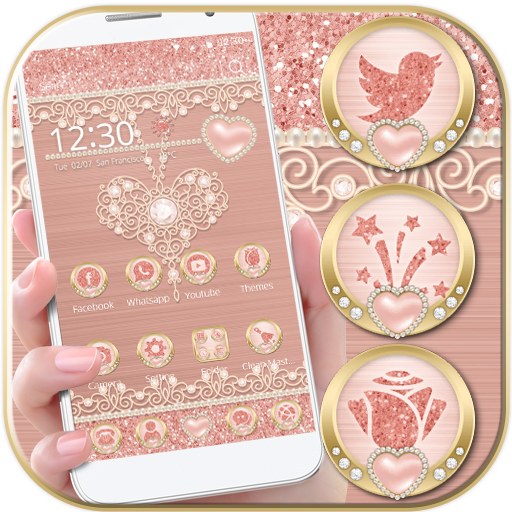 Rose Gold Launcher Diamond Heart Theme