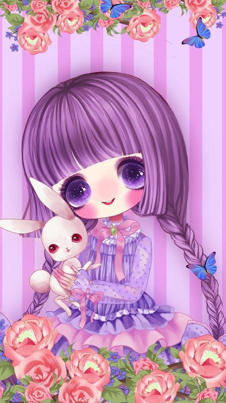 Screenshot Rose Girl Purple Theme APK