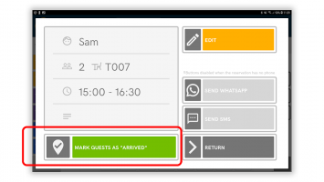 Table Reservations Planner (DigiDine) Screen